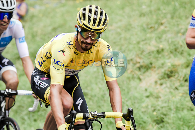 Yellow Jersey Julian Alaphilippe (FRA) Deceuninck-Quick Step safely in the peloton during Stage 14 of the 2019 Tour de France running 117.5km from Tarbes to Tourmalet Bareges, France. 20th July 2019.<br /> Picture: ASO/Pauline Ballet | Cyclefile<br /> All photos usage must carry mandatory copyright credit (© Cyclefile | ASO/Pauline Ballet)