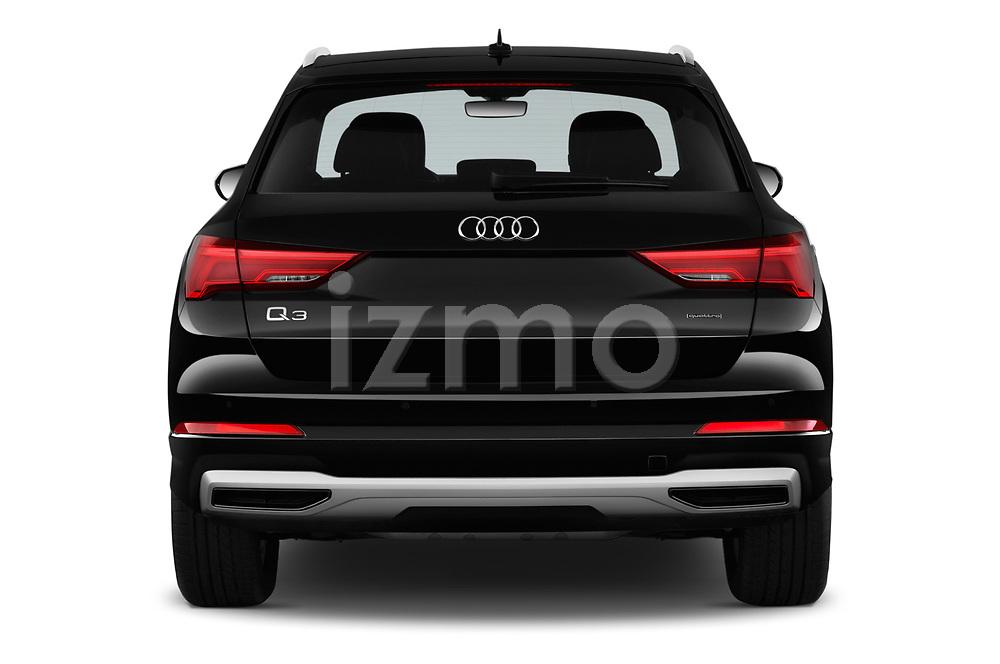 Straight rear view of a 2019 Audi Q3 Premium Plus 5 Door SUV stock images