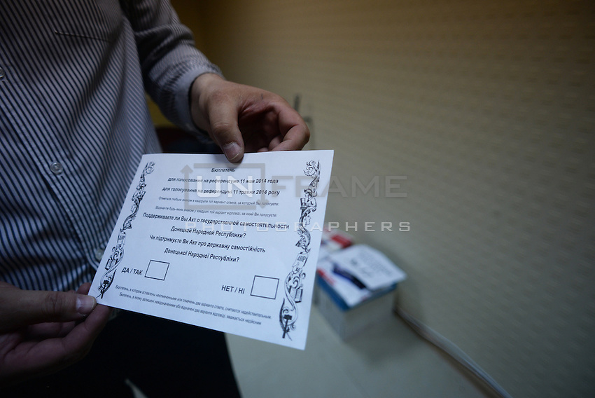 A ballot paper is shown on the day before the popular referendum called to separate the Eastern region from Ukraine. Donetsk, Ukraine