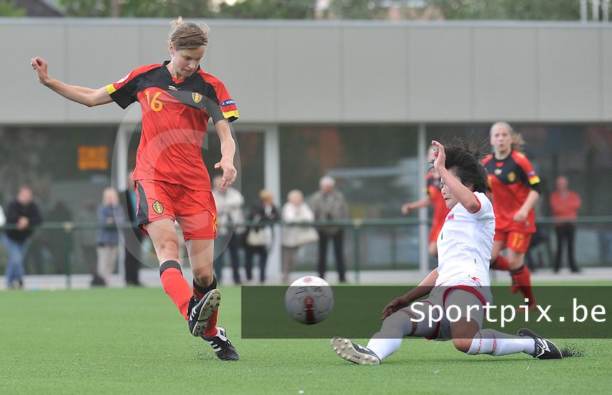 Belgium A - North Korea friendly game at Koksijde KVV Stadium - Belgie - Noord Korea : Lore Vanschoenwinkel .foto David Catry / Joke Vuylsteke / Vrouwenteam.be
