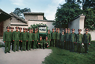 September, 1985. Shaanxi Province, China. The cave of Yan'an where Mao Zedong ended his Long March in1935 and stayed from 1937-1947 is now a museum. This is the entrance to the museum with the guards of the Red Army.
