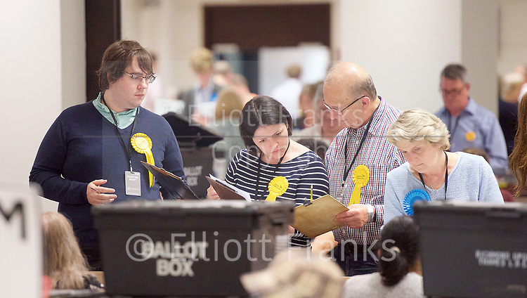 General Election count for the Twickenham &amp; Richmond Park constituencies at the Twickenham Rugby Stadium, Twickenham, Middlesex, Great Britain <br /> 8th June 2017 <br /> <br /> Lib Dems checking the figures <br /> <br /> <br /> Photograph by Elliott Franks <br /> Image licensed to Elliott Franks Photography Services