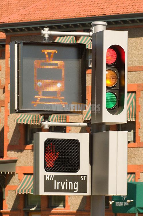 Traffic signal at the Portland Transit Mall.