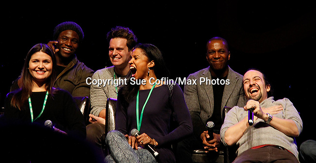 "One Life To Live Renee Elise Goldsberry who stars in Broadway's ""Hamilton - The Musical"" with Lin-Manuel Miranda (2nd R) and cast Phillipa Soo, Okieriete Onadawan, Jonathan Groff, Leslie Odom, Jr. - all attending the first ever 3-day Broadway Con on January 22 - 24, 2016 at the Hilton Hotel, New York City, New York.  (Photo by Sue Coflin/Max Photos)"