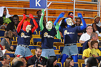 21 January 2012:  FIU's memes, wearing Guy Fawkes masks, attempt to fire up the fans in the first half as the Florida Atlantic University Owls defeated the FIU Golden Panthers, 66-64, at the U.S. Century Bank Arena in Miami, Florida.