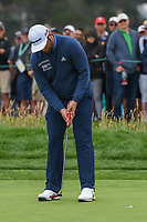 Jon Rahm (ESP) sinks his putt on 6 during round 2 of the 2019 US Open, Pebble Beach Golf Links, Monterrey, California, USA. 6/14/2019.<br /> Picture: Golffile | Ken Murray<br /> <br /> All photo usage must carry mandatory copyright credit (© Golffile | Ken Murray)