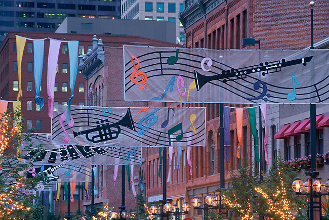 Larimer Square, decorated for one of Denver's music festivals, on a summer night in downtown Denver, Colorado.