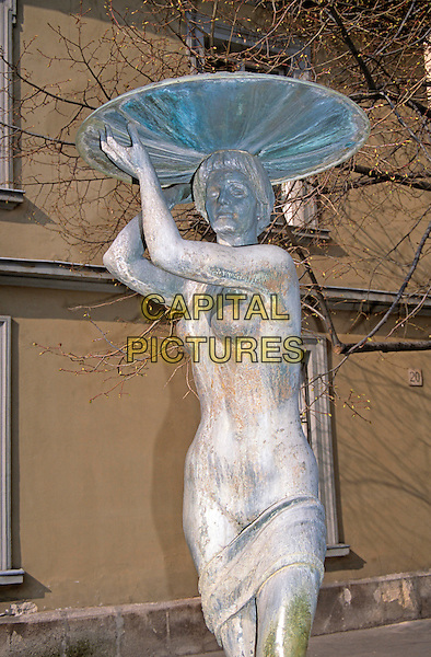 Female nude fountain statue, Orszaghaz Utca, Castle Hill District, Budapest, Hungary