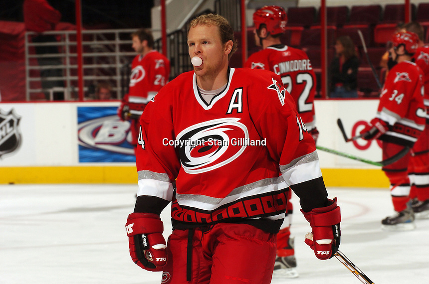Carolina Hurricanes' Kevyn Adams warms up prior to a game with the Tampa Bay Lightning Thursday, Sep. 22, 2005 in Raleigh, NC. Carolina won 5-2.