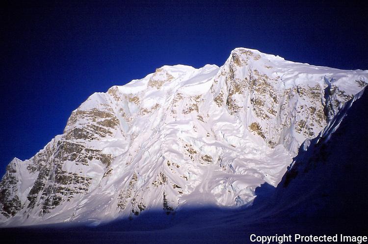 The North Face of Mount Hunter from Denali's Base Camp, Alaska Range.
