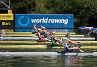 """Lucerne, SWITZERLAND, 13th July 2018, Friday USA W1X,Kara  KOHLER, at the """"start of her heat""""' in the """"Women's Single Sculls"""", at the  FISA World Cup series, No.3, Lake Rotsee, Lucerne, © Peter SPURRIER,"""