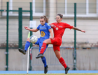 20191221 - WOLUWE: Gent's Jasmien Mathys is in action (left) and Woluwe's Celine Verdonck (right) defends during the Belgian Women's National Division 1 match between FC Femina WS Woluwe A and KAA Gent B on 21st December 2019 at State Fallon, Woluwe, Belgium. PHOTO: SPORTPIX.BE | SEVIL OKTEM