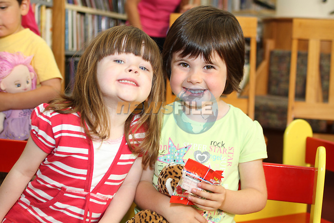 Leah Newman and Sarah Murray at Childrens Story Tme in Drogheda Library...Picture Jenny Matthews/Newsfile.ie