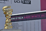 The Trofeo Senza Fine on display at sign on before the start of Stage 12 of the 2019 Giro d'Italia, running 158km from Cuneo to Pinerolo, Italy. 23rd May 2019<br /> Picture: Fabio Ferrari/LaPresse | Cyclefile<br /> <br /> All photos usage must carry mandatory copyright credit (© Cyclefile | Fabio Ferrari/LaPresse)