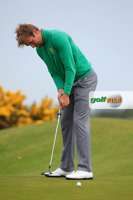 Jonathan Yates (Naas) on the 7th green during the Flogas Irish Amateur Open Championship Am-Am at Royal Dublin on Monday 9th May 2016.<br /> Picture:  Thos Caffrey / www.golffile.ie
