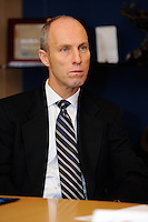 USA National Team Head Coach Bob Bradley listens during a meeting of members of the USA Bid Committee for the FIFA World Cup in New York, NY on December 15, 2009.
