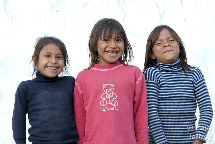 Girls in Lote 75, an indigenous neighborhood of Enmarcacion, in the Chaco region of Argentina.