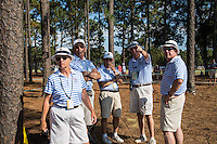 PINEHURST, NC - JUNE 15: Volunteer Marshalls make a plan on the 16th tee. Scenes from the U.S. Open Championship at Pinehurst, North Carolina on Sunday, June 15, 2014. (Photo by Landon Nordeman)