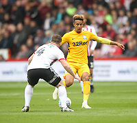 Preston North End's Ben Davies in action with Sheffield United's John Fleck<br /> <br /> Photographer Mick Walker/CameraSport<br /> <br /> The EFL Sky Bet Championship - Sheffield United v Preston North End - Saturday 22 September 2018 - Bramall Lane - Sheffield<br /> <br /> World Copyright © 2018 CameraSport. All rights reserved. 43 Linden Ave. Countesthorpe. Leicester. England. LE8 5PG - Tel: +44 (0) 116 277 4147 - admin@camerasport.com - www.camerasport.com