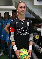 20190915– HALLE , BELGIUM : FP Halle-Gooik Girls A's goal keeper Nena Suet is pictured at the start of the Belgian Women's Futsal D1 match between FP Halle-Gooik A and FP Halle-Gooik B on Sunday 15th 2019 at the De Bres Sport Complex in Halle, Belgium. PHOTO SPORTPIX.BE | Sevil Oktem