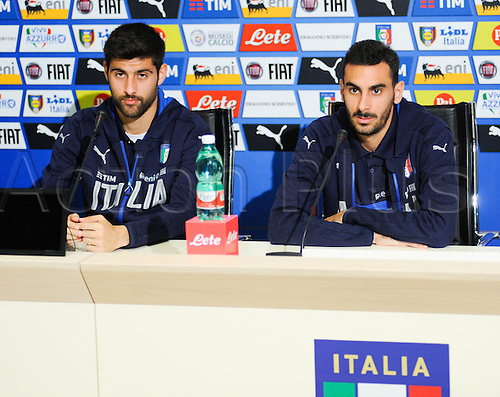 20.05.2016. Florence, Italy. The mens Italian Football team press conference.   Marco Benassi e Davide Zappacosta (Torino)