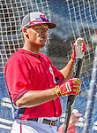 19 September 2015: Washington Nationals catcher Pedro Severino awaits his turn in the batting cage prior to a game against the Miami Marlins at Nationals Park in Washington, DC. The Nationals defeated the Marlins 5-2 in the third game of their 4-game series. Mandatory Credit: Ed Wolfstein Photo *** RAW (NEF) Image File Available ***