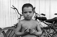 BRAZIL,El DORADO DOS CARAJAS : Child in front of the school of the camp  of the Landless workers Movement  at on 17 April, 1998  at transamazonica in Parauapebas south of Pará, northern Brazil. -  Photo by Paulo Amorim