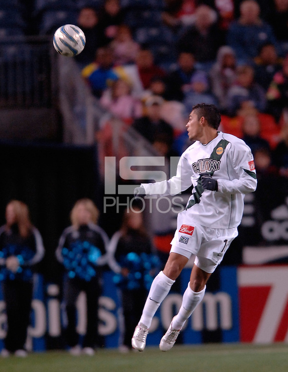 LA Galaxy forward Herculez Gomez heads the ball. The Colorado Rapids lost to the LA Galaxy 2-0 in the Western Conference Finals, November 5, 2005, at Ivesco Field at Mile High in Denver, CO.
