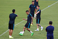 Calcio Champions League - Allenamento del Barcellona alla vigilia del match contro la Roma allo stadio Olimpico di Roma, 15 settembre 2015.<br /> Italy Football Champions League: From left, Barcelona's Luis Suarez, Neymar and Lionel Messi attend a training session ahead of the football match against Roma at Rome's Olympic stadium, 15 September 2015.<br /> UPDATE IMAGES PRESS/Riccardo De Luca<br /> <br /> <br /> <br /> *** ITALY AND GERMANY OUT ***