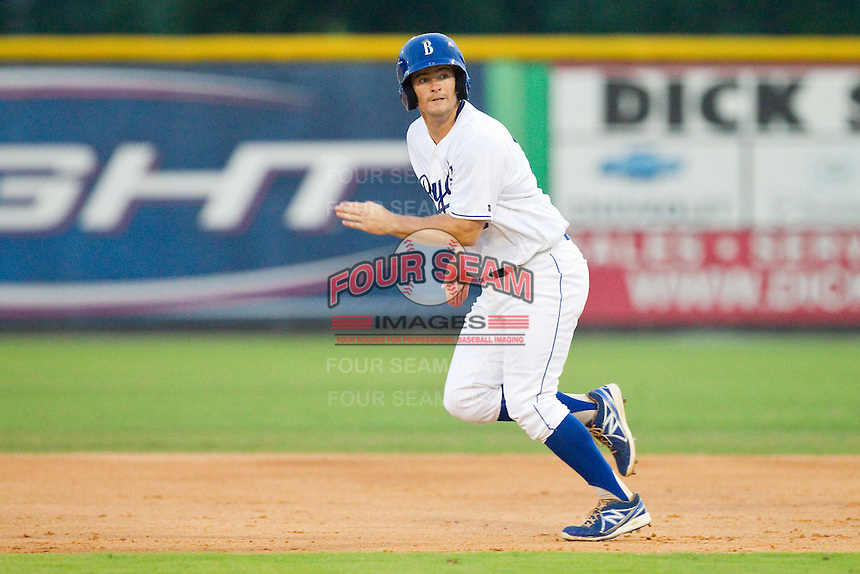 Andrew Ayers (18) of the Burlington Royals takes his lead off of first base against the Pulaski Mariners at Burlington Athletic Park on July 20, 2013 in Burlington, North Carolina.  The Royals defeated the Mariners 6-5.  (Brian Westerholt/Four Seam Images)