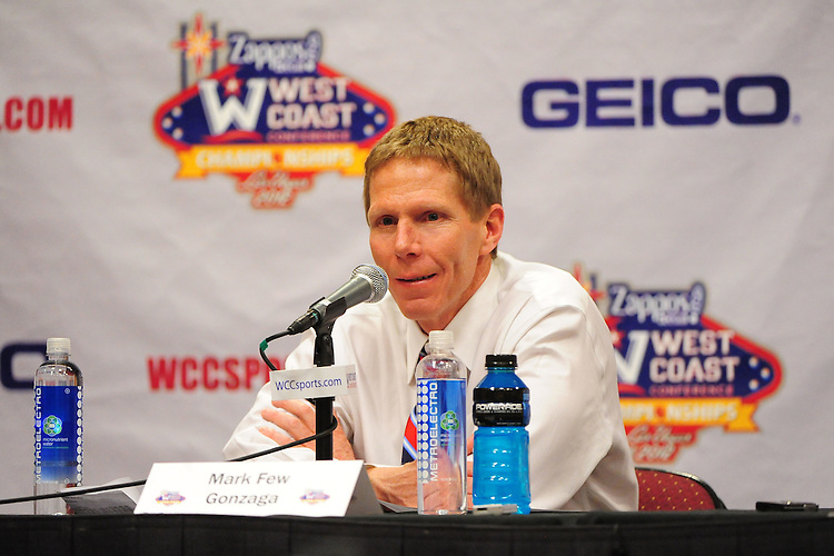 March 3, 2012; Las Vegas, NV, USA; Gonzaga Bulldogs head coach Mark Few addresses the media in a press conference against the BYU Cougars during the WCC Basketball Championships at Orleans Arena.