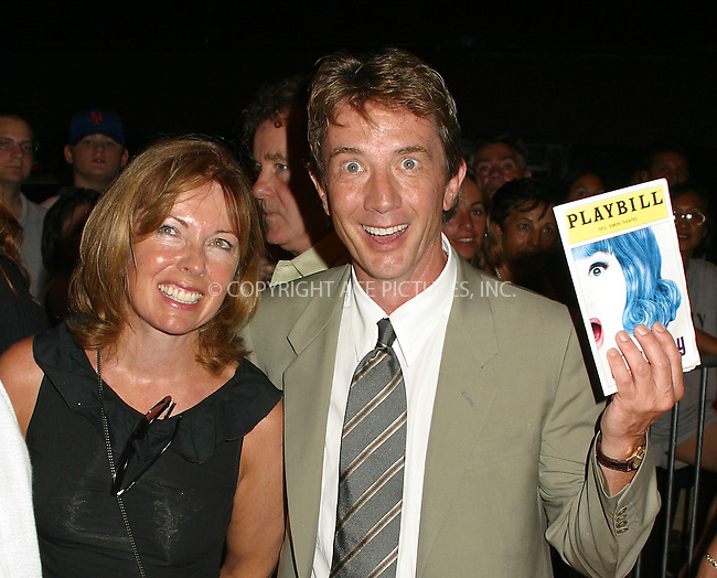 "Opening night for Broadway's newest and hottest show, ""Hairspray"" at Neil Simon Theatre. New York, August 15, 2002. Pictured is Martin Short with wife. Please byline: Alecsey Boldeskul/NY Photo Press.   ..*PAY-PER-USE*      ....NY Photo Press:  ..phone (646) 267-6913;   ..e-mail: info@nyphotopress.com"