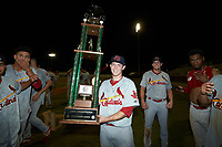Johnson City Cardinals pitcher Dylan Pearce (38) poses for a photo with the Appalachian League trophy following the win over the Burlington Royals at Burlington Athletic Stadium on September 4, 2019 in Burlington, North Carolina. The Cardinals defeated the Royals 8-6 to win the 2019 Appalachian League Championship. (Brian Westerholt/Four Seam Images)