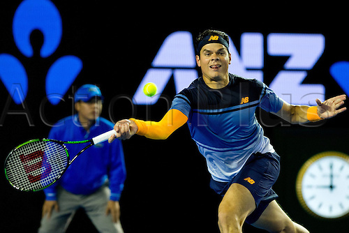 29.01.2016. Melbourne Park, Melbourne, Australia. Austalian Open Tennis Championship. Mens Semi Final Day. Milos Raonic in action during his mens semi final with Andy Murray.