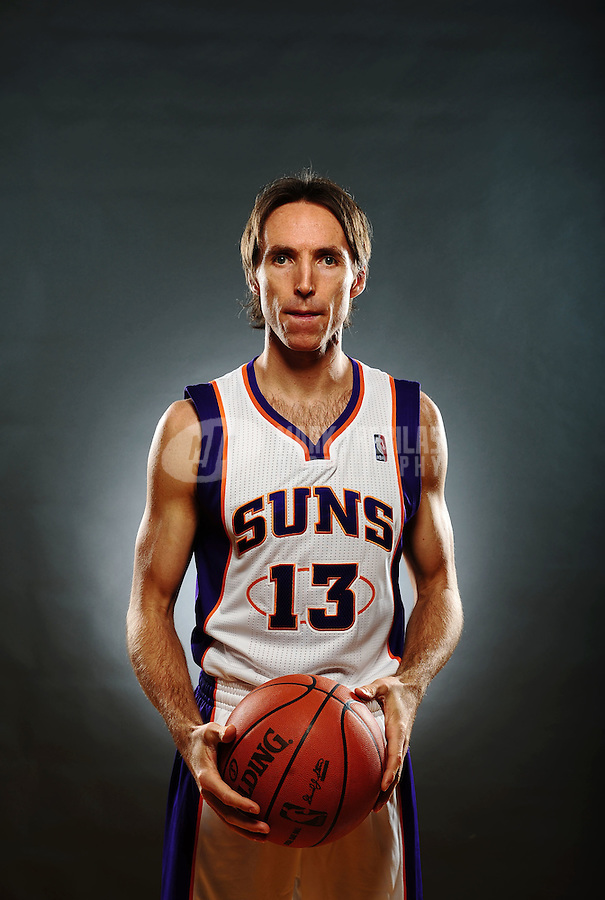 Dec. 16, 2011; Phoenix, AZ, USA; Phoenix Suns guard Steve Nash poses for a portrait during media day at the US Airways Center. Mandatory Credit: Mark J. Rebilas-