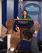 White House press secretary Sarah Huckabee Sanders conducts a briefing in the Brady Press Briefing Room of the White House in Washington, DC on Wednesday, August 15, 2018.  In her opening remarks, Sanders announced that United States President Donald J. Trump has revoked the security clearance of former Central Intelligence Agency (CIA) Director John Brennan and that the clearances of several other former officials were under review.<br /> Credit: Ron Sachs / CNP