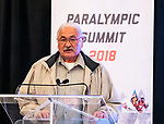 First Nations Elder Casey Eagle during the  CPC Paralympic Summit 2018 at the Palliser Hotel in Calgary, Alberta on November 15, 2018.