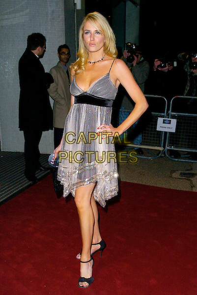 "NANCY SORRELL.Arrives at ""An Audience With Take That"".at The London Television Studios,.London, England, December 2nd 2006..full length silver grey dress hand on hip.CAP/CAN.©Can Nguyen/Capital Pictures"