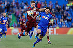 Bruno Gonzalez of Getafe CF and Alexander Sorloth of Trabzonspor during UEFA Europa League match between Getafe CF and Trabzonspor at Coliseum Alfonso Perez in Getafe, Spain. September 19, 2019. (ALTERPHOTOS/A. Perez Meca)