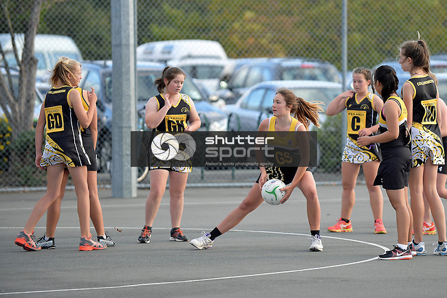 NELSON, NEW ZEALAND - April 25: Netball, <br /> Geraldine Hodgson Tournament, April 25 2015, Saxton Netball Courts, Nelson, New Zealand. (Photo by: Barry Whitnall Shuttersport Limited)