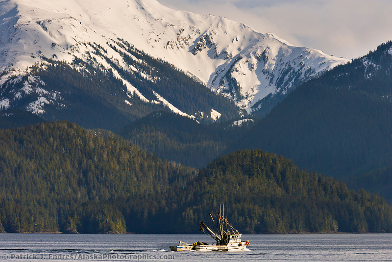 Commercial fishing vessel, purse seiner in Sitka Channel, southeast, Alaska
