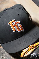 Fresno Grizzlies hat during the Pacific Coast League baseball game against the Round Rock Express on May 18, 2012 at The Dell Diamond in Round Rock, Texas. The Grizzlies defeated the Express 5-2. (Andrew Woolley/Four Seam Images)