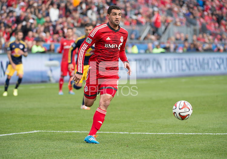 Toronto, Ontario - May 17, 2014: Toronto FC forward Gilberto #9 in action during a game between the New York Red Bulls and Toronto FC at BMO Field. Toronto FC won 2-0.