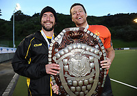 Rowan Yeo and Kyle Pontifex with the Challenge Shield after winning the men's National Hockey League final between Harbour and Capital at National Hockey Stadium in Wellington, New Zealand on Sunday, 23 September 2018. Photo: Dave Lintott / lintottphoto.co.nz