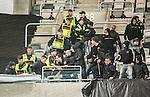 ***BETALBILD***  <br /> Stockholm 2015-05-25 Fotboll Allsvenskan Djurg&aring;rdens IF - AIK :  <br /> Poliser p&aring; l&auml;ktaren f&ouml;rs&ouml;ker mota bort AIK:s supportrar under ett br&aring;k efter matchen mellan Djurg&aring;rdens IF och AIK <br /> (Foto: Kenta J&ouml;nsson) Nyckelord:  Fotboll Allsvenskan Djurg&aring;rden DIF Tele2 Arena AIK Gnaget supporter fans publik supporters slagsm&aring;l br&aring;k fight fajt gruff polis poliser