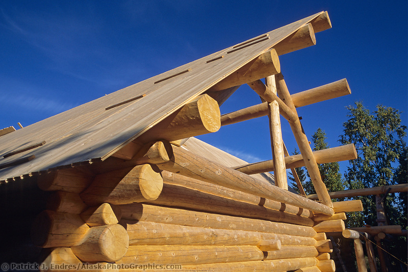 Custom Scandinavian scribe, log home construction, Fairbanks, Alaska