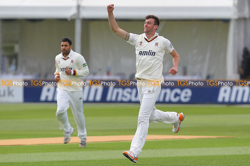 Reece Topley of Essex celebrates the wicket of Michael Carberry - Essex CCC vs Hampshire CCC - LV County Championship Division Two Cricket at the Essex County Ground, Chelmsford - 29/04/13 - MANDATORY CREDIT: Gavin Ellis/TGSPHOTO - Self billing applies where appropriate - 0845 094 6026 - contact@tgsphoto.co.uk - NO UNPAID USE.