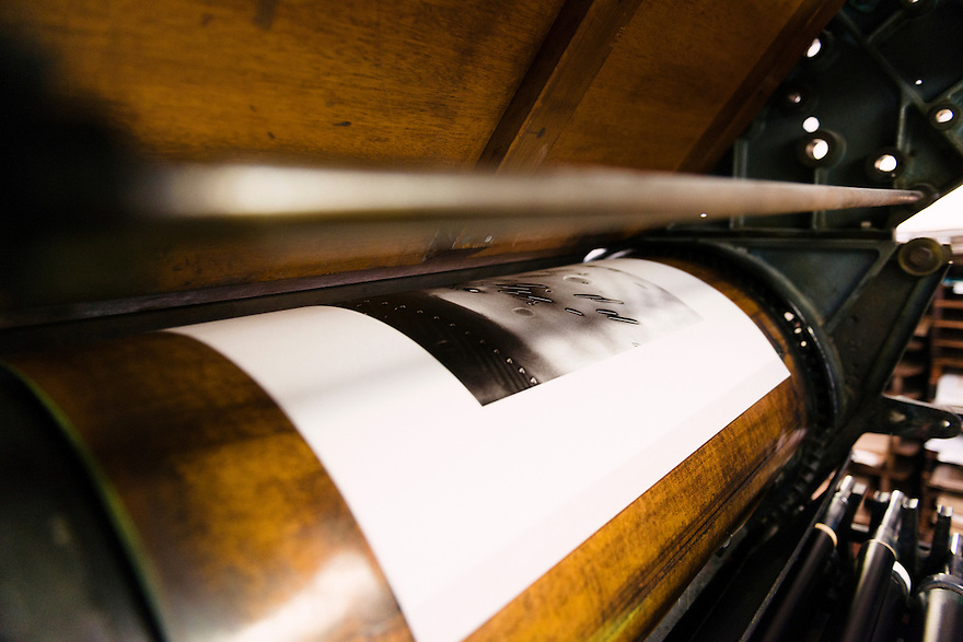 A collotype print still in the printing press. Benrido collotype atelier, Kyoto, Japan, October 13, 2015. The Benrido collotype atelier in Kyoto was founded in 1887 and is the only full-scale commercial collotype atelier in the world. Collotype is a historic photographic printing process that makes use of plates coated in gelatine. It produces prints of unrivalled quality.