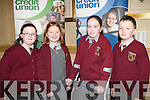 QUIZ: The students of Knockaclar NS, Brosna competing in the Chapter 23 of the Irish League of Credit Unions table quiz at the Gleneagle hotel, Killarney on Sunday l-r: Katelyn Brodrick, Patricia Murphy, Laura Murphy and Conor Daly.