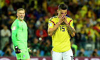 MOSCU - RUSIA, 03-07-2018: Mateus URIBE jugador de Colombia luce decepcionado después de fallar su cobro en la tanda de penales durante el partido de octavos de final entre Colombia y Inglaterra por la Copa Mundial de la FIFA Rusia 2018 jugado en el estadio del Spartak en Moscú, Rusia. / Mateus URIBE player of Colombia looks disappointed after loosing goal in the penalty shoot out during the match between Colombia and England of the round of 16 for the FIFA World Cup Russia 2018 played at Spartak stadium in Moscow, Russia. Photo: VizzorImage / Julian Medina / Cont